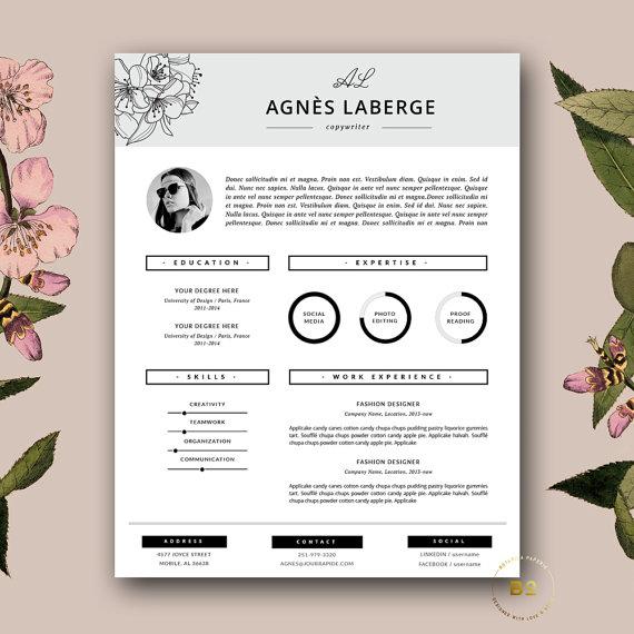 Floral Resume Design Fashion Cv Feminine Resume Stylish Etsy Cover Letter Template Free Feminine Resume Creative Cv