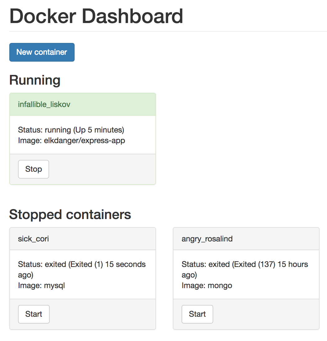 Preview of the Docker dashboard app