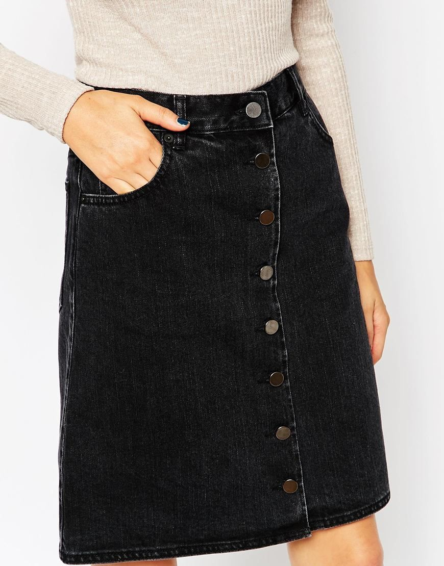 eb1995899e Image 3 of ASOS PETITE Denim Polly A-Lline Button Midi Skirt in Washed Black
