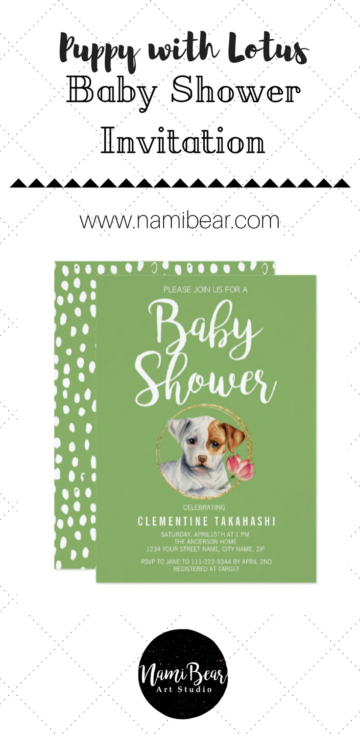 Puppy and Lotus with Faux Gold Spring Baby Shower Card
