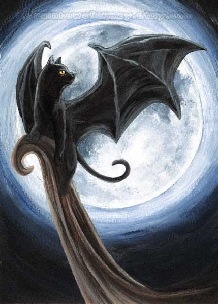 Black Cat Art Any Print Size Halloween Decor Full Moon Picture