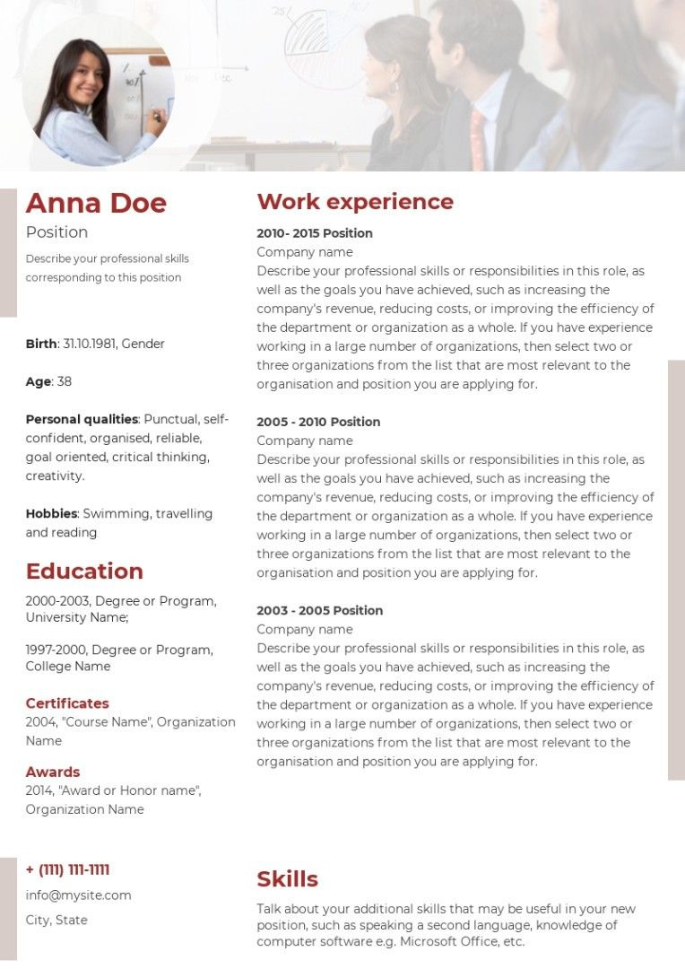 Consulting, coaching resume sample, made on Wilda