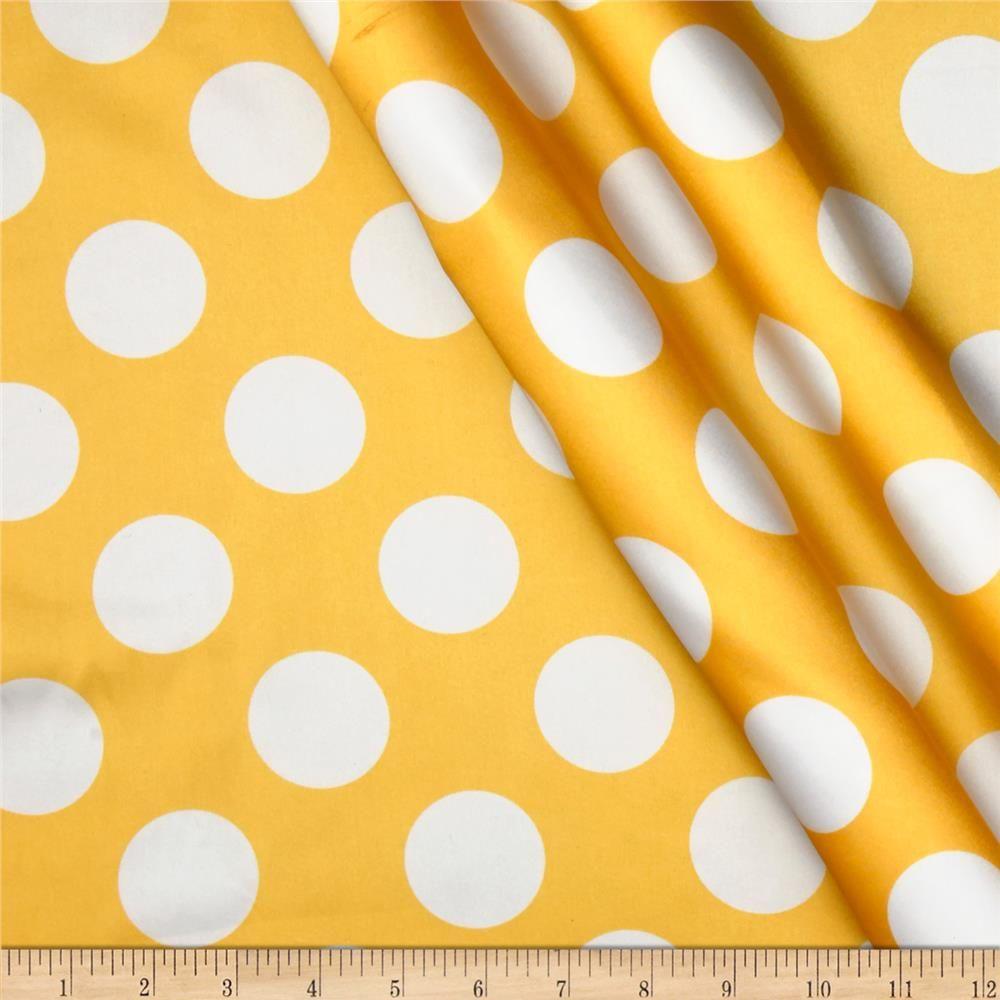 Charmeuse Satin Large Polka Dots Yellow/White