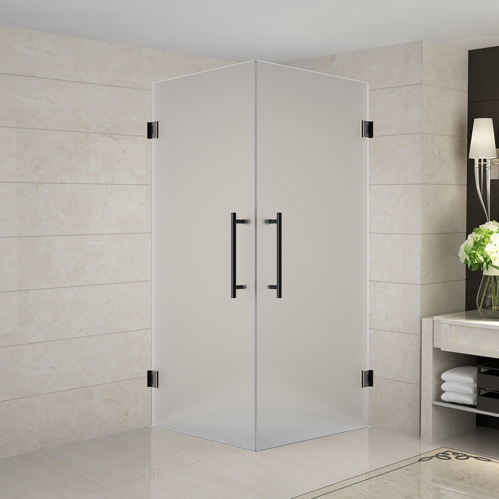 Completely Frameless Dual Door 36 X 36 X 72 Rectangle Hinged