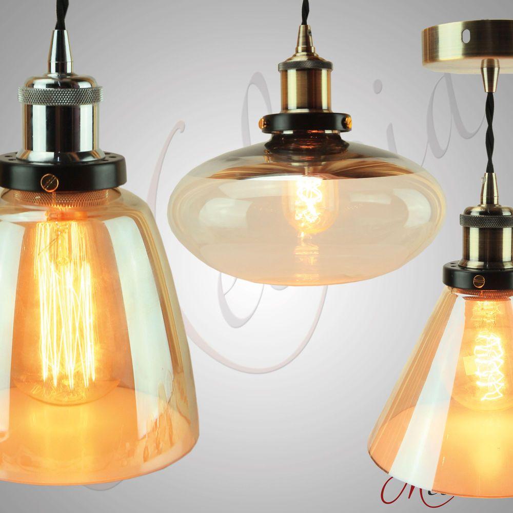 Pendelleuchte Glas Braun Bernstein Messing Lampe Design Hängelampe Vintage LED