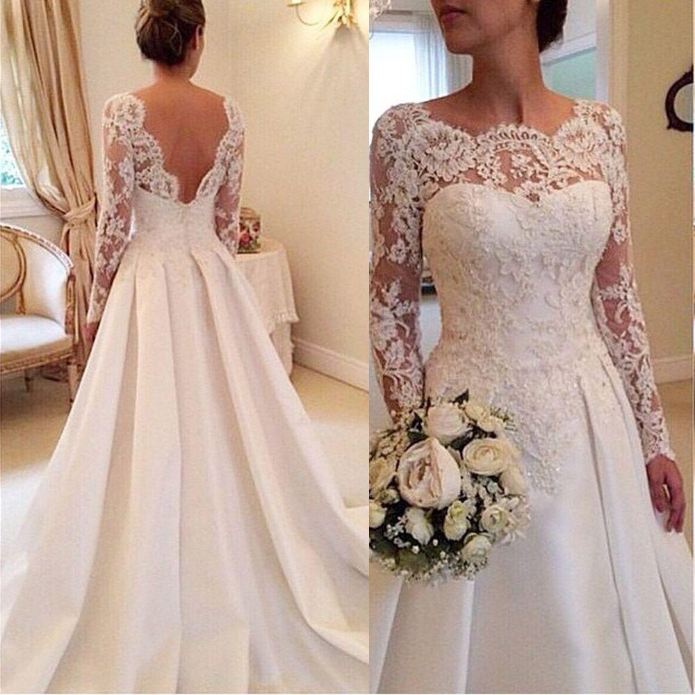 20140fe13b1ad Find More Wedding Dresses Information about 2015 Elegant Vestido De Renda  Lace Long Sleeve Wedding Dress Open Back A Line Bridal Gowns Plus Size  Satin W3816 ...
