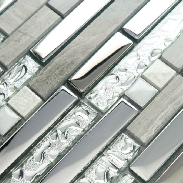 Stone silver glass tile backsplash kitchen brick pattern for Dimensional tile backsplash