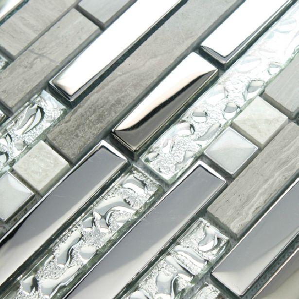 stone silver glass tile backsplash