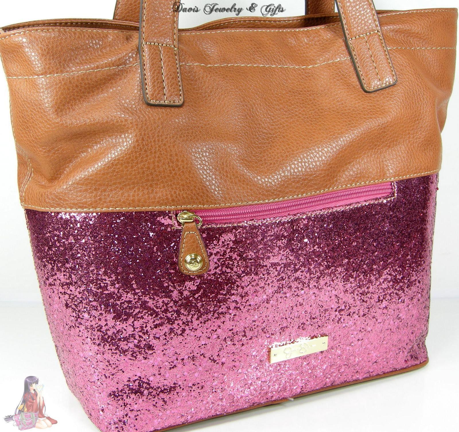 Jessica Simpson Purse Pink Saddle Beige Large Tote Glitter