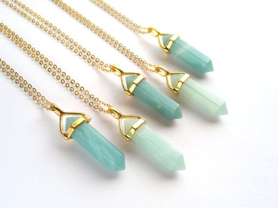 Amazonite Necklace Gold Crystal Point Pendant by SinusFinnicus
