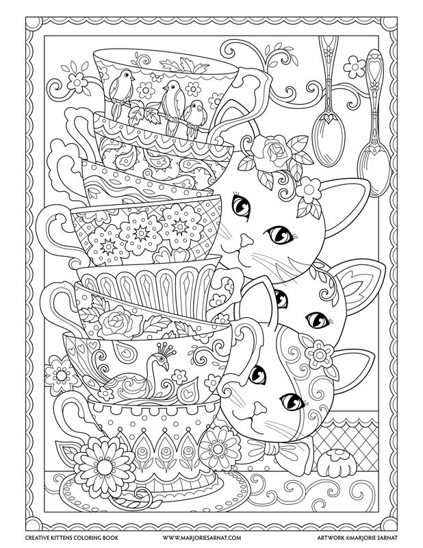 Stack Of Teacups Creative Kittens Coloring Book By Marjorie