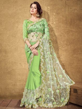 7d69a50553589e Green Net Saree with Embroidery Work | favs in 2019 | Saree, Dulhan ...