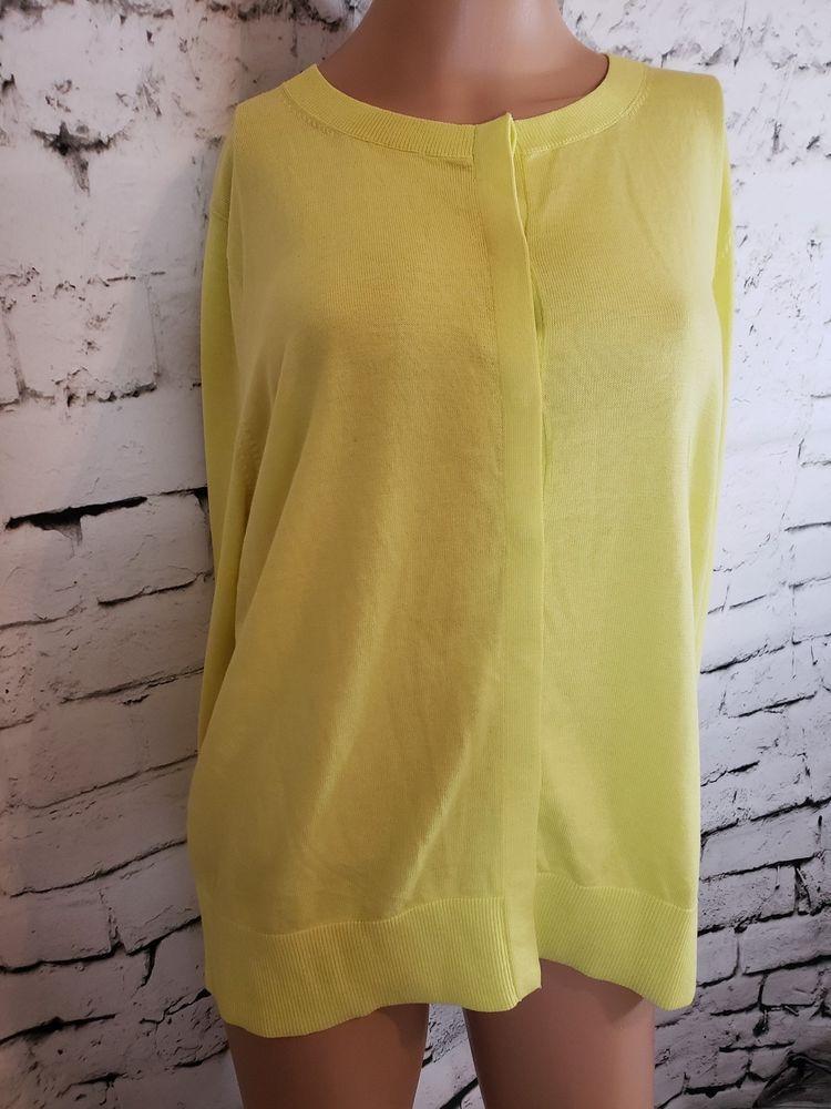 3cb92d458b244 New Ann Taylor Loft Neon Yellow Long Sleeve Button 100% Cotton Sweater Sz  XL  LOFT  Pullover