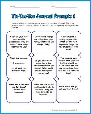 Back From Winter Break Writing Prompts  Tic Tac Toe Prompts
