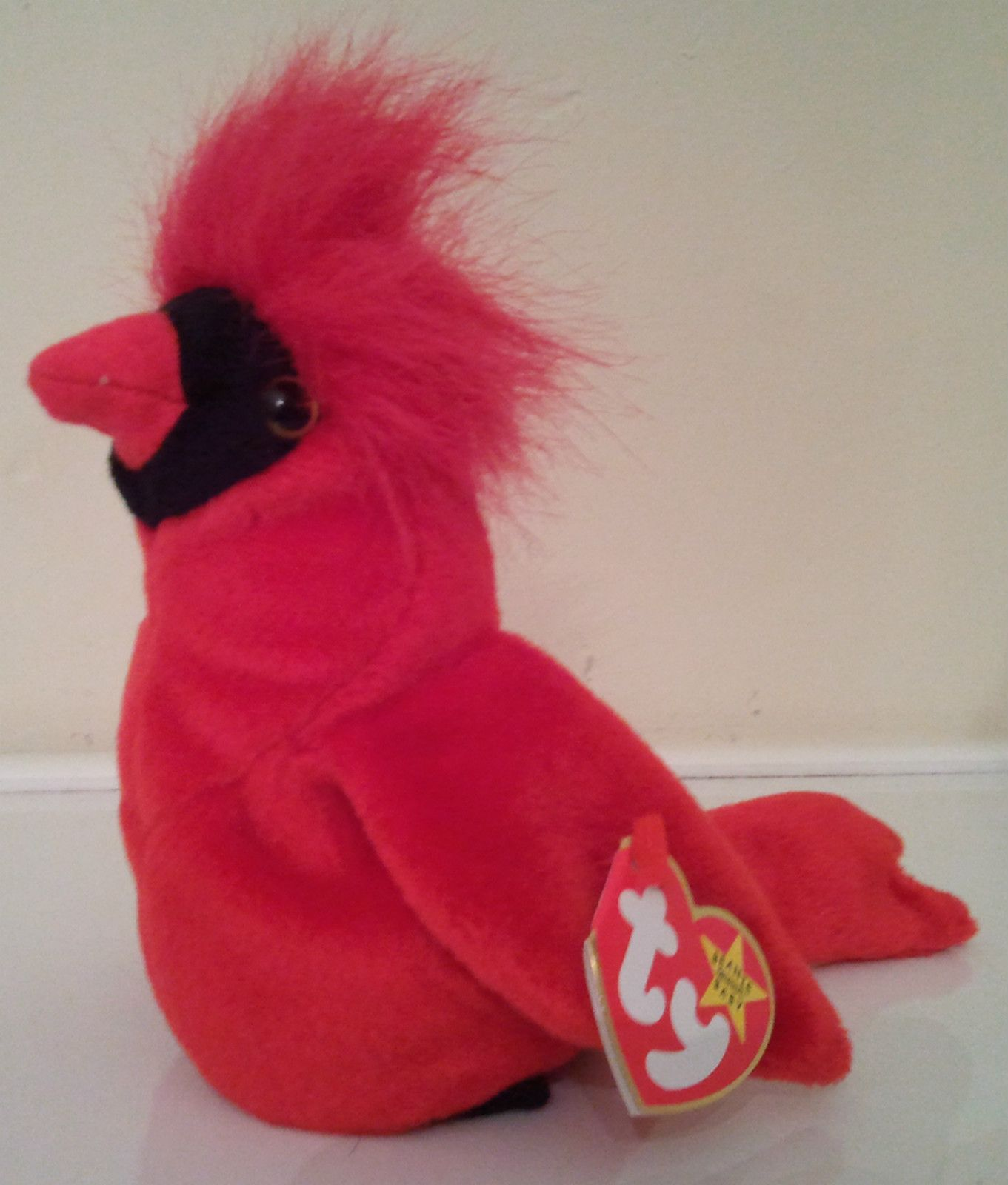 Beanie Baby Mac Red Cardinal Bird Vintage Black Feet Stuffed Animal