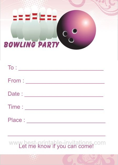 Free Printable Bowling Birthday Party Invitations Strike Out And