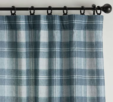 Turner Plaid Print Blackout Linen Cotton Rod Pocket Curtain Blue Multi In 2020 Grey Blackout Curtains Grey Curtains Printed Curtains