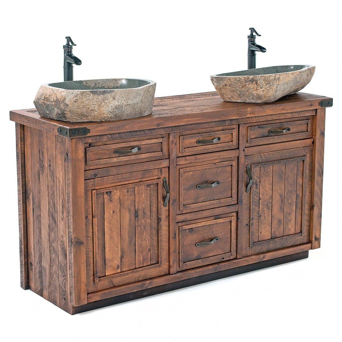 Timber Haven Rustic Barn Wood Vanity 48 72 Rustic Bathroom Vanities Wood Vanity Bathroom Red