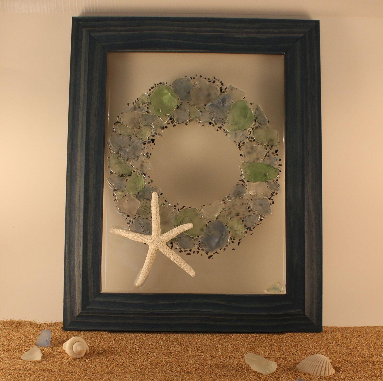 Beach decor sea glass art seaglass starfish wreath sea glass beach decor sea glass art seaglass starfish wreath sea glass resin art coastal jeuxipadfo Gallery