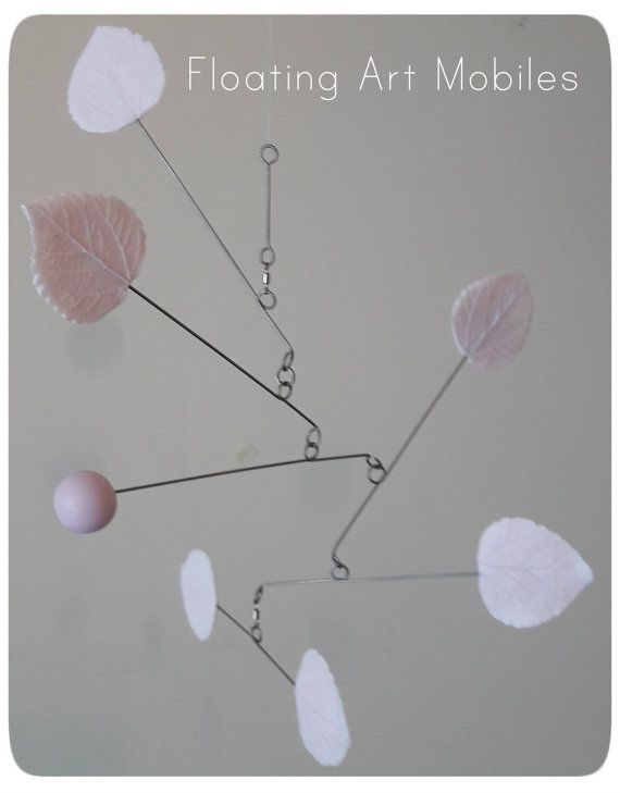 Baby Mobile Modern Pink Leaf  Whimsy Baby by FloatingArtMobiles