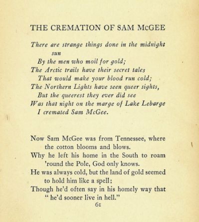 the cremation of sam mcgee summary