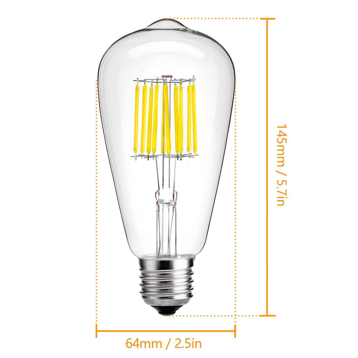 Hzsane 10w Edison Style Vintage Led Filament Light Bulb 6000k Daylight White 1000lm St64st21 Antique Shapee26 Medium Base Lamp 100w Incandesc Bulb Light Bulb Led
