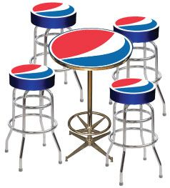 Logo Bar Stool And Table Package 2 Pepsi Home Decor