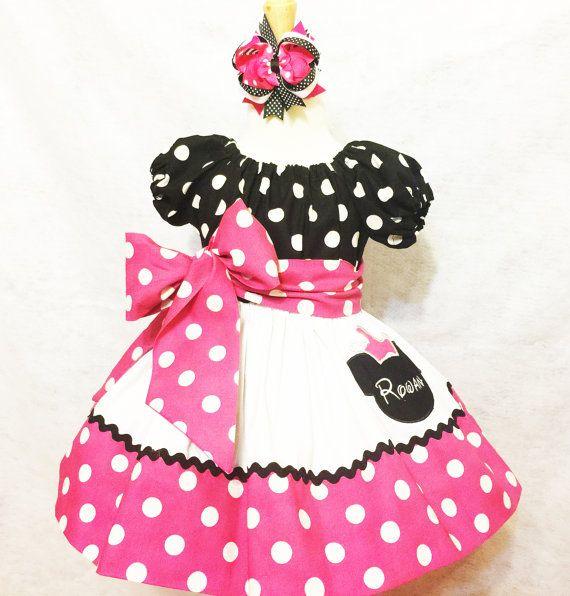 Personalizado hecho Minnie Mouse vestido bordado caliente rosa ...