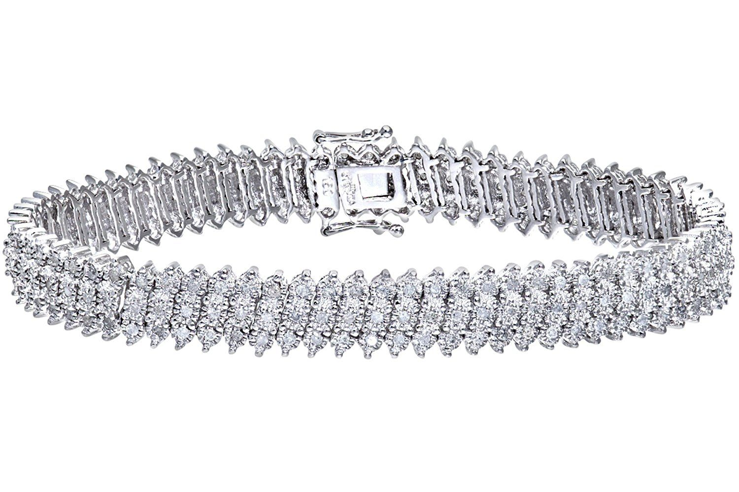 Naava womenus diamond row bracelet ct white gold prong setting