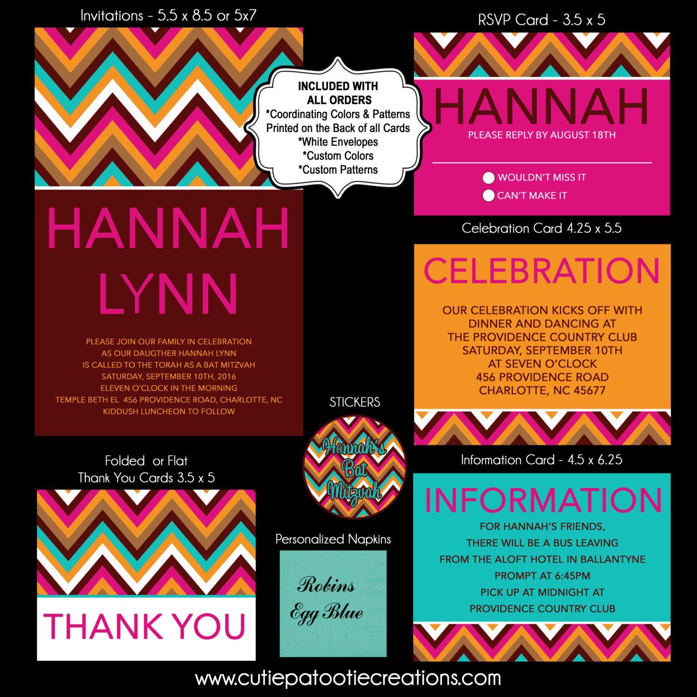 BOLD CHEVRON Bat Mitzvah Invitation, RSVP Card, Thank You Notes by ...