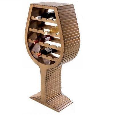 Botellero de madera con forma de copa de vino ideal para for Bar madera rustica