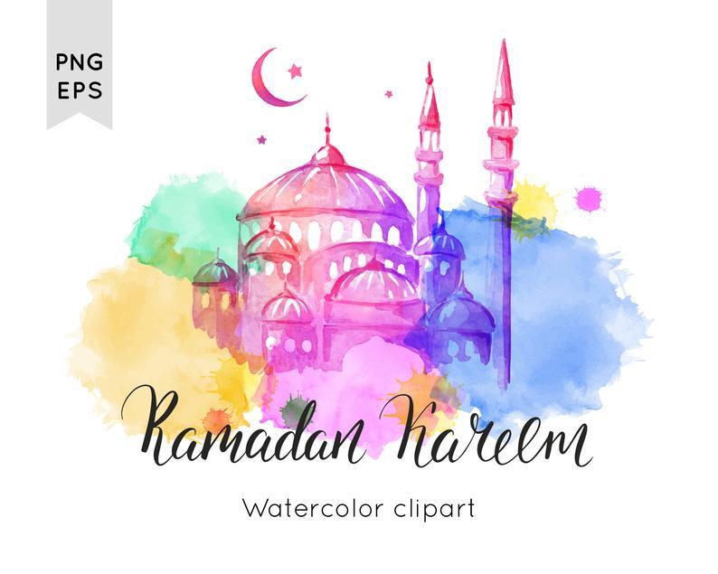 Ramadan Watercolor Clipart Ramadan Printable Vector Clipart Etsy In 2021 Ramadan Mosque Art Ramadan Kareem