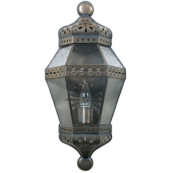 Aged Tin Medallion Wall Lantern Sconce.  Add a warm glow to any room in your home with this hand crafted wall sconce. $76.95