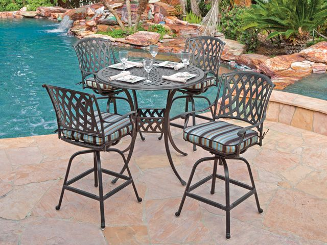 Tivoli 5 Pc Cast Aluminum Swivel Bar Set With 48 Round Table
