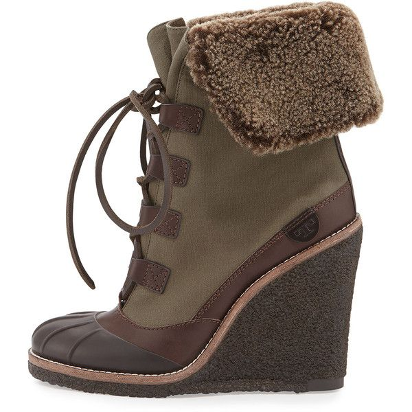 c34c0ee5aee07 ... wholesale tory burch fairfax shearling lined wedge boot 215 liked on  polyvore featuring 085b8 07ef6
