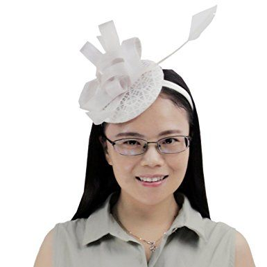 8fbd852ccbd ABPF Fascigirl Sinamay Fascinator Hat Feather Party Pillbox Hat Flower  Derby Hat for Women Review
