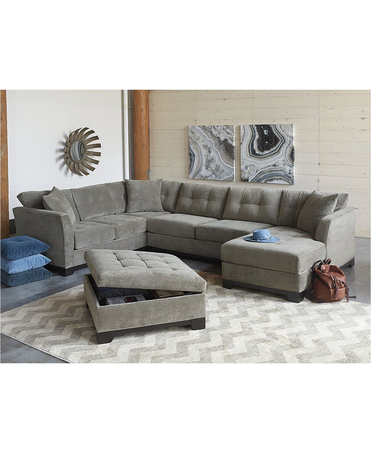 Elliot Fabric Sectional Living Room Furniture Collection Chairs For Small Spaces Closeout Created Macy S Macys Com