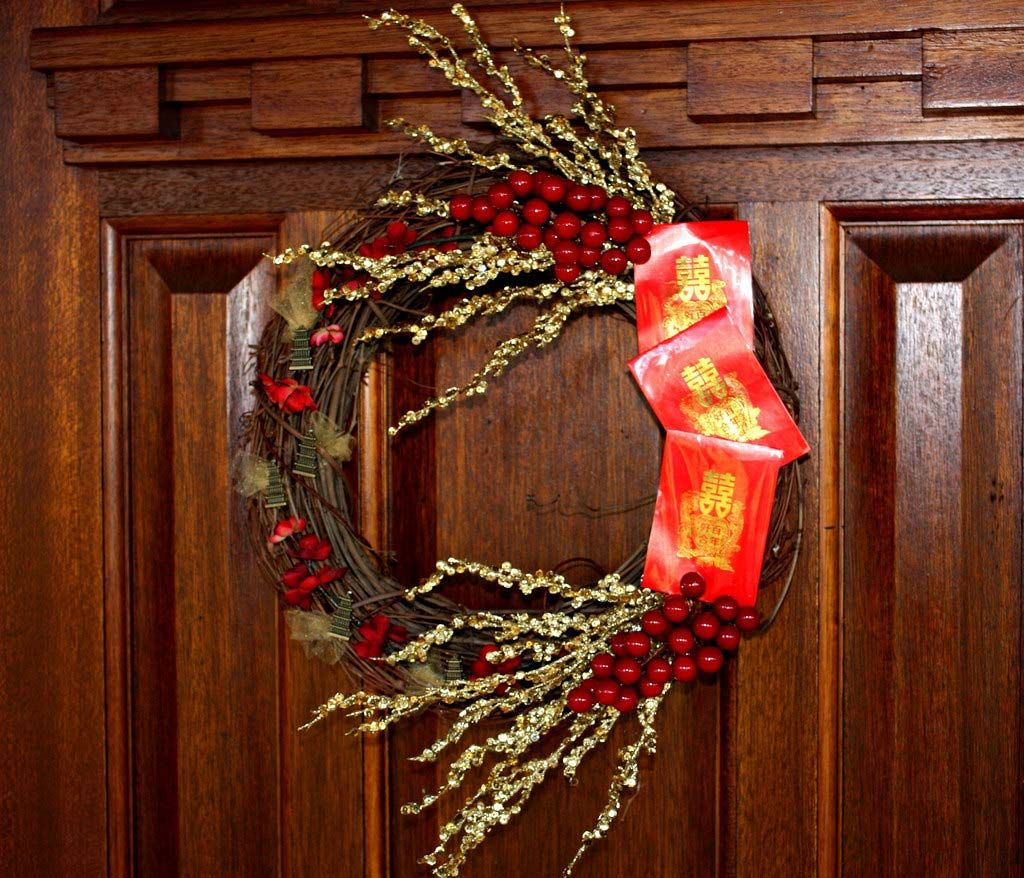 Attractive Wreath Accented With A Red Envelope As A Symbol Of Authentic Chinese · New  Years DecorationsHouse ...