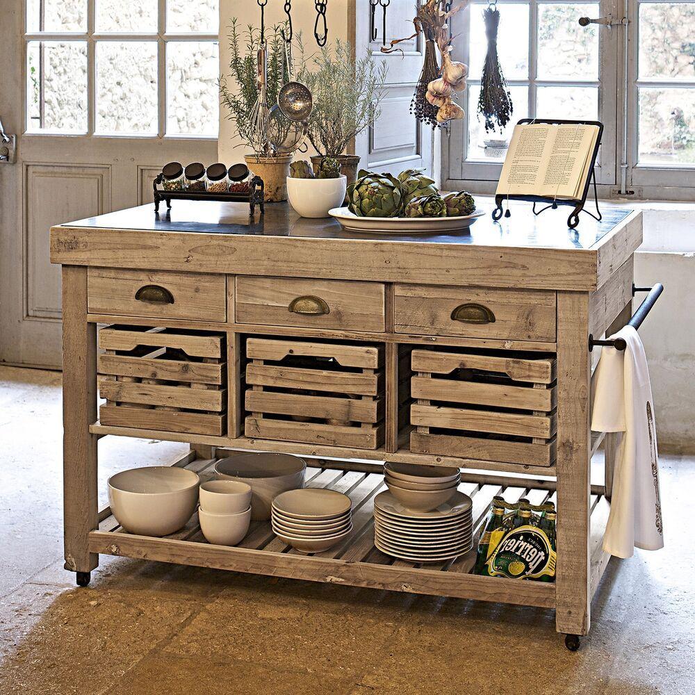 Küchenarbeitstisch ODDAH - Granitplatte, Kücheninsel Massivholz
