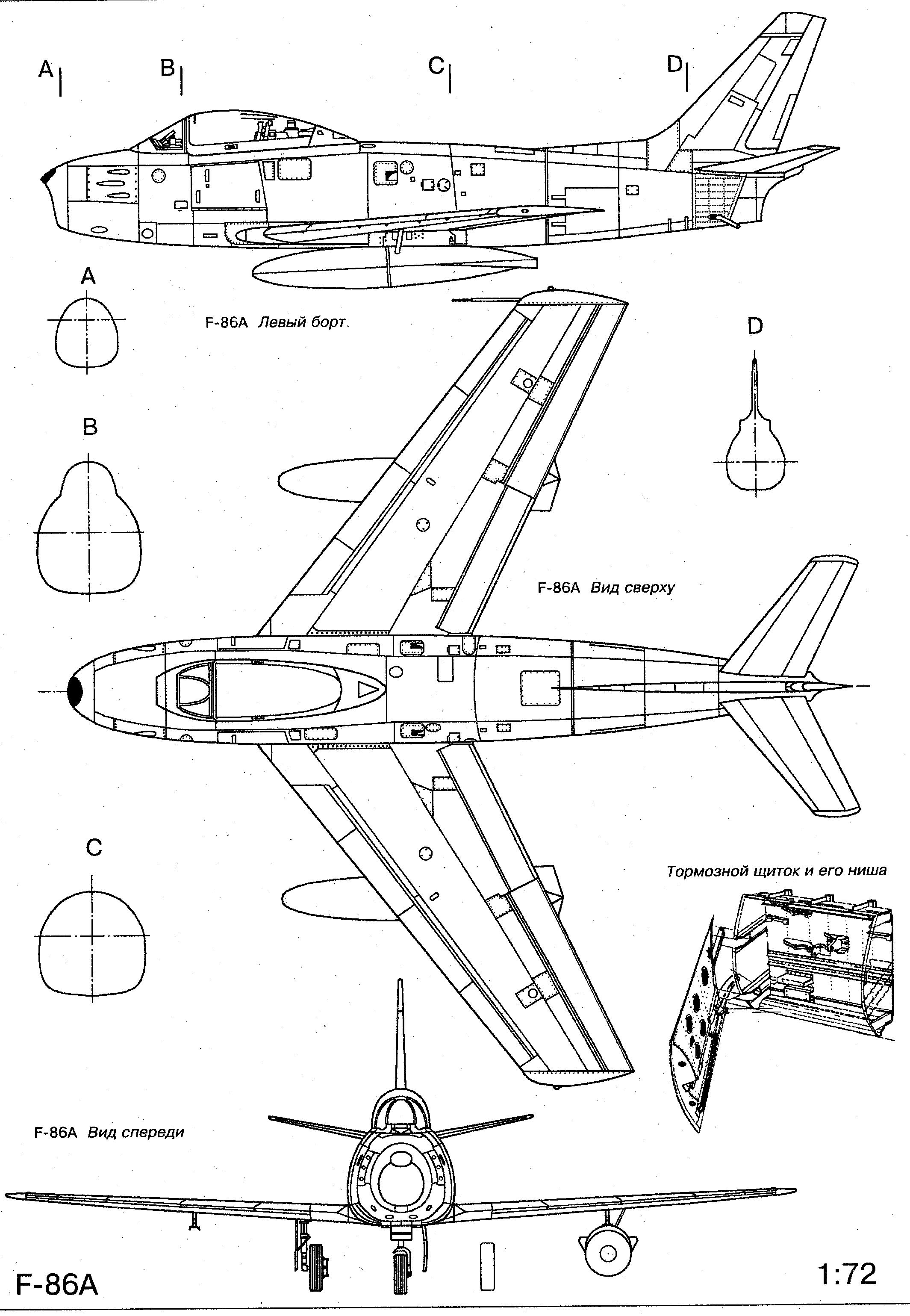 F 86 Sabre Blueprint Planes
