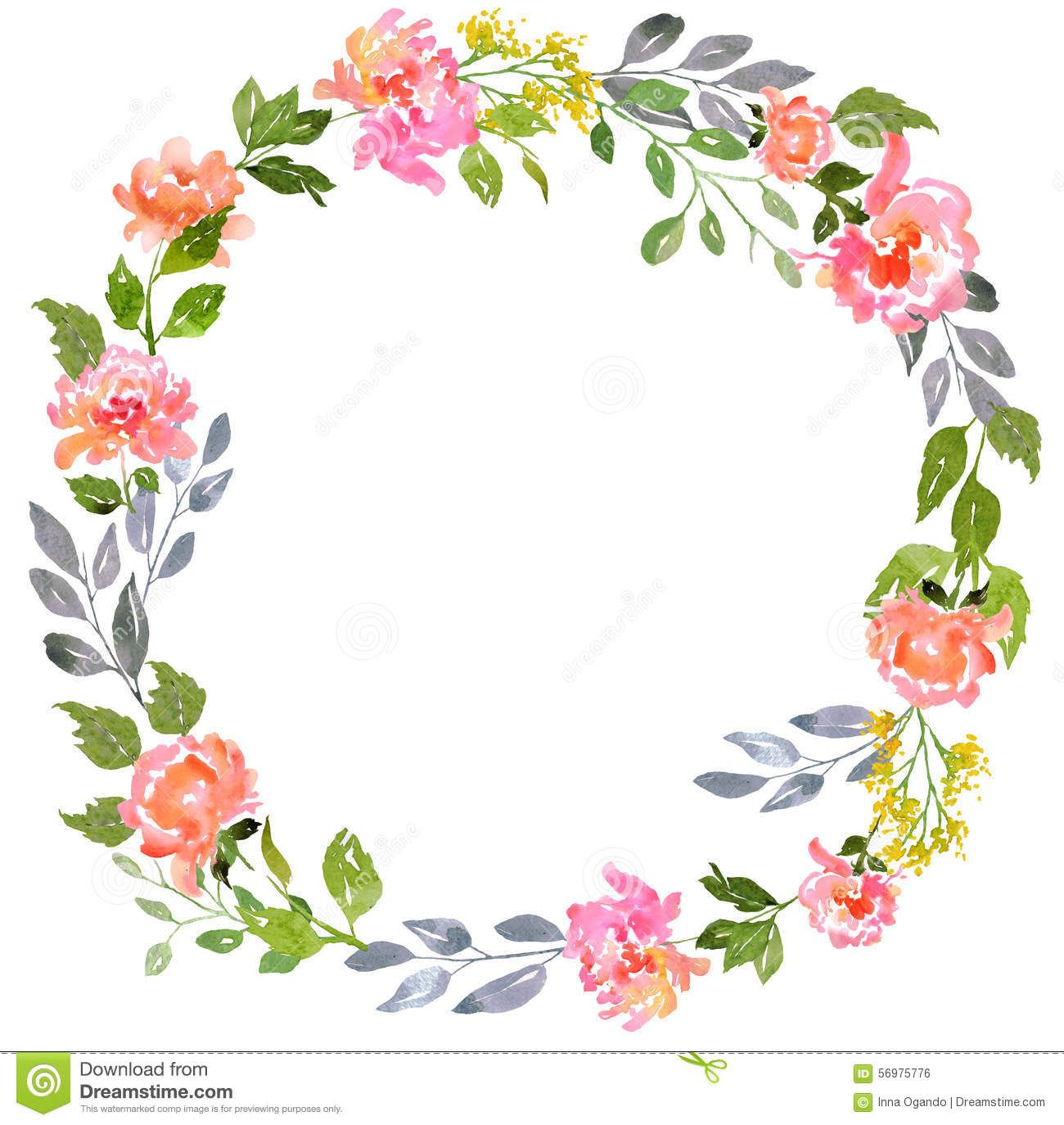 Watercolor Floral Card Template Stock Illustration Floral