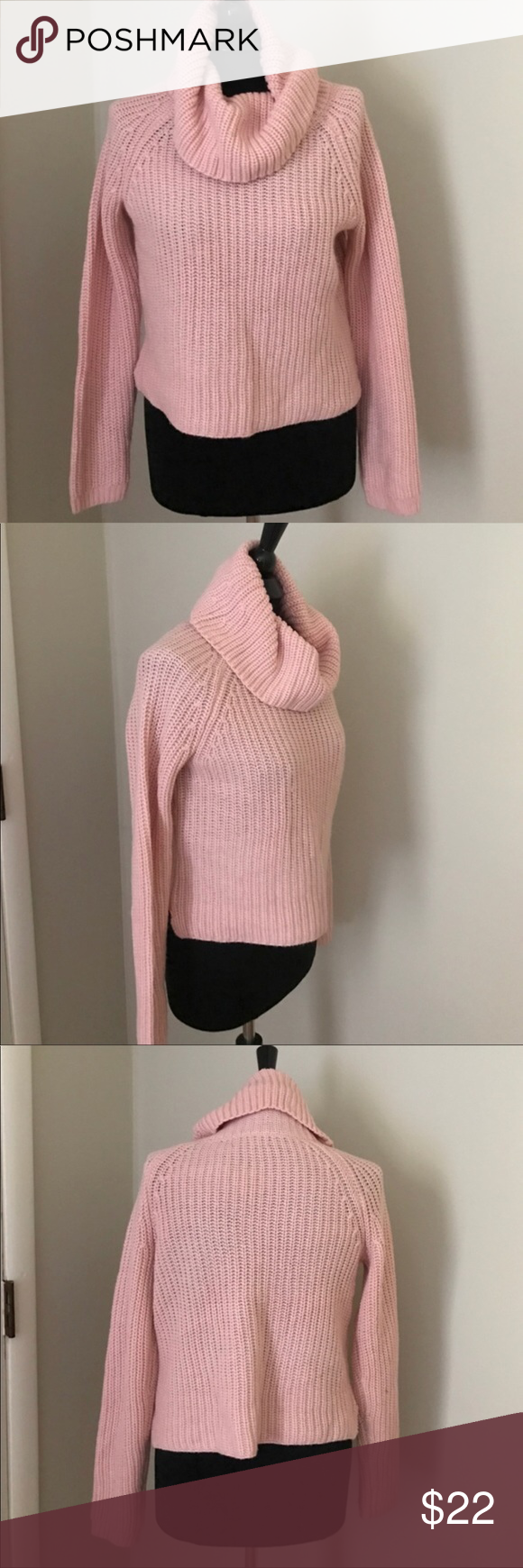Blush Pink Cropped Knit Sweater Gently worn blush pink cropped ...