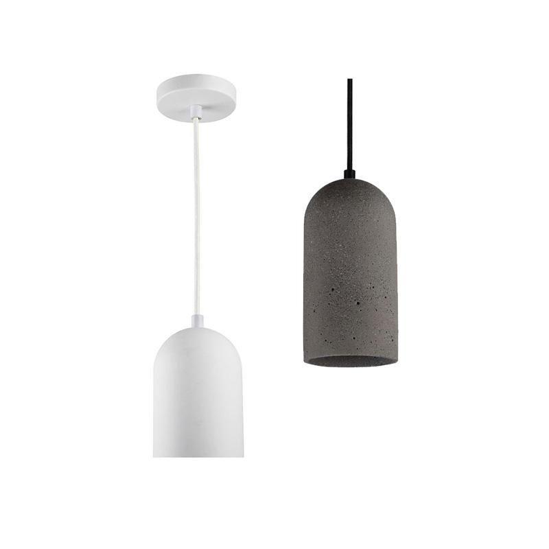 Cylinder Pendant Light Stone Dome E27 Black White Crompton