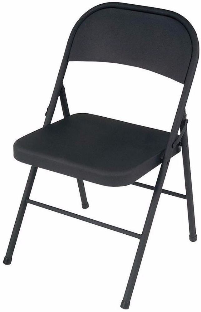 Heavy Duty All Steel Folding Chairs Set Of Four In Black Home