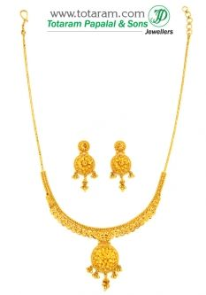 Buy 22K Gold Necklace Earrings Set GS2668 with a list price of