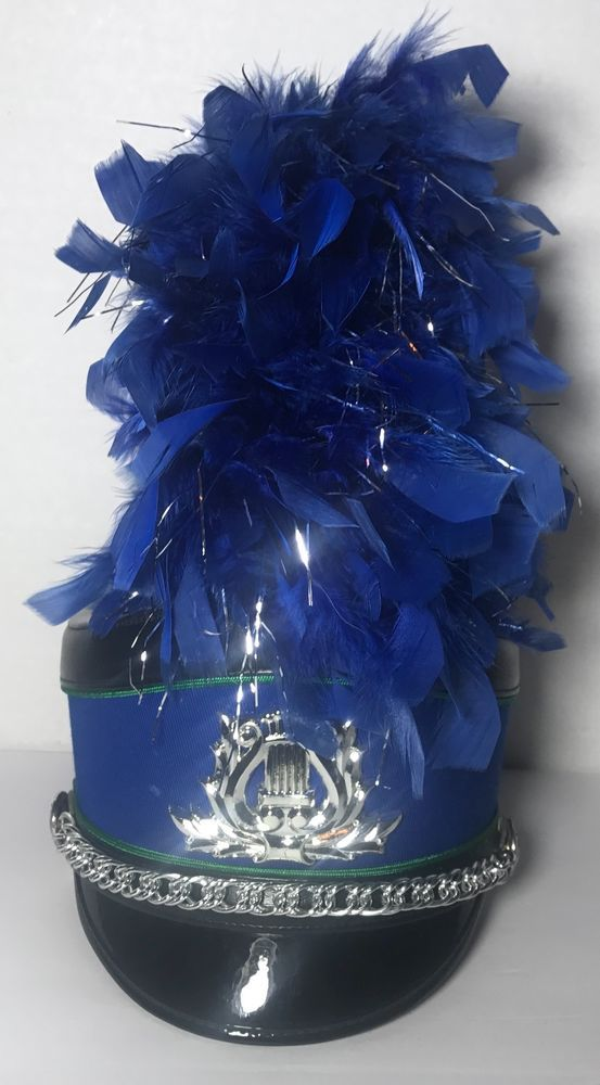 657d21d1ac9 VTG MARCHING BAND LEADER UNIFORM HAT W  BLUE PLUME AND HARD CASE FRUHAUF  COSTUME  Parade