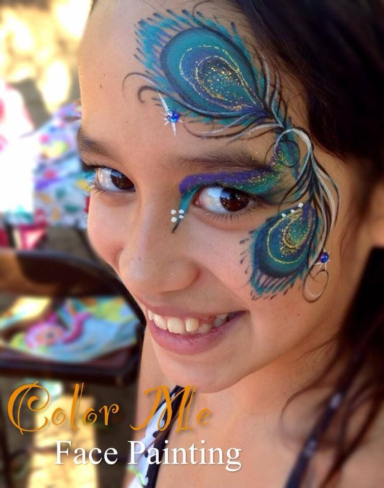 peacock eye design facepaint pinterest maquillage enfant grimage maquillage animaux. Black Bedroom Furniture Sets. Home Design Ideas
