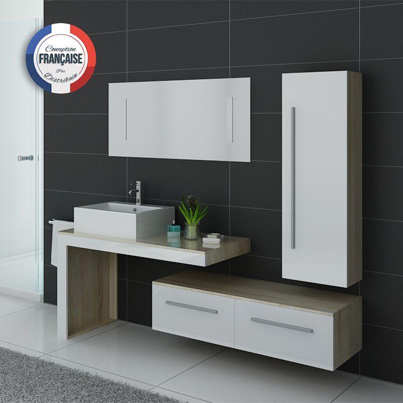 DIS9250SC-B Meuble salle de bain scandinave-blanc Interiors - Meuble De Salle De Bain Sans Vasque
