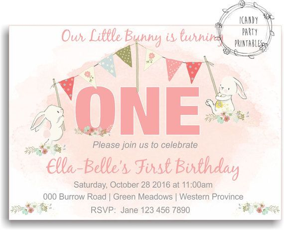 Bunny invitation first birthday invitation rabbit invite some pink 1st birthday invitation bunny by icandypartyprintable on etsy filmwisefo