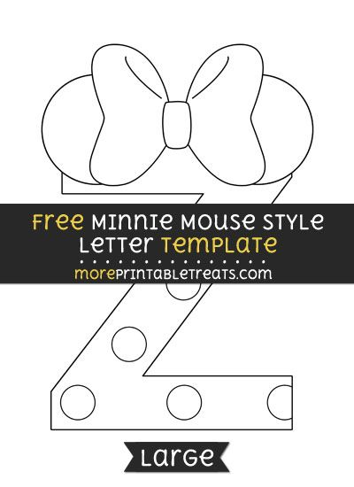free minnie mouse style letter z template large shapes and